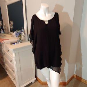 Womens AGB 3X xxxl plus size black sheer blouse